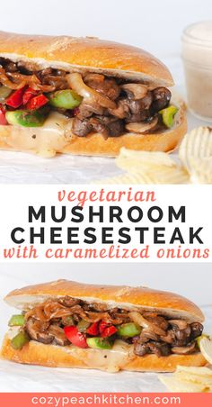 vegetarian mushroom Phily cheesesteak sandwich is topped with caramelized onions and can be made in just over 30 minutes.This vegetarian mushroom Phily cheesesteak sandwich is topped with caramelized onions and can be made in just over 30 minutes. Veggie Recipes, Whole Food Recipes, Cooking Recipes, Healthy Recipes, Vegetarian Mushroom Recipes, Vegetarian Sandwich Recipes, Vegetarian Italian, Recipes With Mushrooms Vegan, Delicious Vegetarian Meals