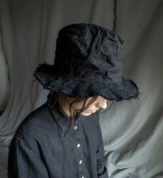 53179a2490d Black fedora hat SHADOW made of natural linen. Gothic bohemian hat handmade hat  vegan fedora women s