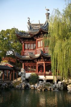 Yuyuan Garden tea house In Shanghai, China • photo: Justin Guariglia on Fine Art America Water Garden - Shanghai - China Skyline of Shan