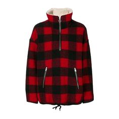 ISABEL MARANT ETOILE 'Gilas' Plaid Jacket ($435) ❤ liked on Polyvore featuring outerwear, jackets, red, red tartan jacket, plaid jacket, etoile--isabel marant jacket, red plaid jacket and red jacket