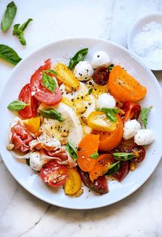it's for a party of one or a crowd of twelve, the best caprese salad is served with creamy mozzarella, summer's best tomatoes and fresh basil. Caprese Salad Recipe, Salad Recipes, Healthy Recipes, Basil Recipes, Healthy Meals, Mozzarella, Ensalada Caprese, Tomato Salad, Tomato Basil