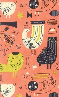 Jenn Ski's lovely bird pattern from her Tiki Tok Collection, via Print & Pattern.