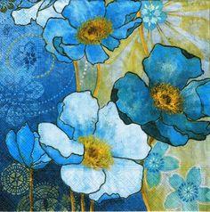 Decoupage servilletas 4 piezas armonía azul por LanternsByTamara