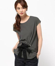 ESTNATION WOMEN(ウィメン)のESTNATION ウエストリボンカットソー(Tシャツ/カットソー) チャコールグレー