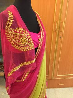 The unique designer saree by krishnam # beautiful colours combination # material is single diamond chiffon saree with same material blouse # ₹6500/-   + shipping in India  Krishnajadejagohil28@gmail.com