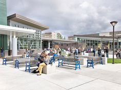 Shorewood High School: The new building is organized around a central, south facing courtyard where students can gather and socialize. Bassetti Architects, 2013.