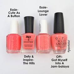 Light coral nail polish comparisons. I love all these peachy pink shades. Essie, OPI, and Defy & Inspire. @gopolished