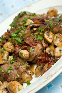 Coq Au Vin - Chicken with Mushrooms & Bacon