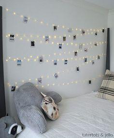 Tween Teen Fairy Light Photo Display Wall. Hang extra long fairy lights and photos for a beautiful bedroom display anyone will love!