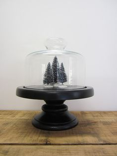 Black Wood Pedestal with Glass Cloche Dome by simplelifevintage, $24.00
