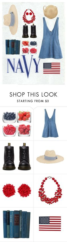 """Red White AND Blue"" by kalia27156 ❤ liked on Polyvore featuring COVERGIRL, LSA International, Dr. Martens, Hat Attack, Humble Chic and Plumeria Exclusive London"