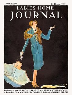 "Ladies' Home Journal cover, March 1930 announces new Maxfield Parrish painting ""White Birch"""