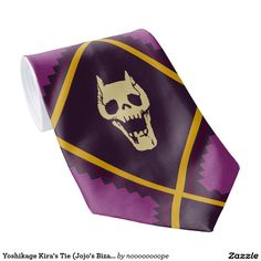 The perfect neck tie for your funky costumes or a night of cosplay. Animal bone skulls decorate the inside of gold band diamond pattern on a purple patterned background. A fun colorful accessory for your next unique outfit planning. #skulls #bones #goth #emo
