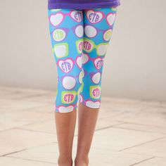 Girls Turquoise Sunglasses INITIALS Arden Capri Leggings – Lolly Wolly Doodle