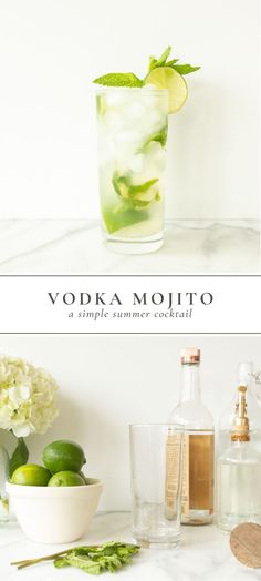 A Vodka Mojito is a simple summer cocktail made with fresh mint, lime, simple syrup, soda water and vodka. This mojito recipe with vodka is the perfect poolside or patio sip. Vodka Lemonade, Vodka Drinks, Alcoholic Drinks, Vodka Lime Soda, Simple Vodka Cocktails, Beverages, Lime Juice, Blueberry Mojito, Raspberry Vodka