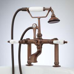Tall Deck-Mount Telephone Tub Faucet & Hand Shower - Porcelain Lever Handles