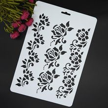 Flowers Masking Spray Stencil For Walls Painting Embossing Paper Crafts Scrapbook Stamp DIY Tools Photo Album Card(China (Mainland))