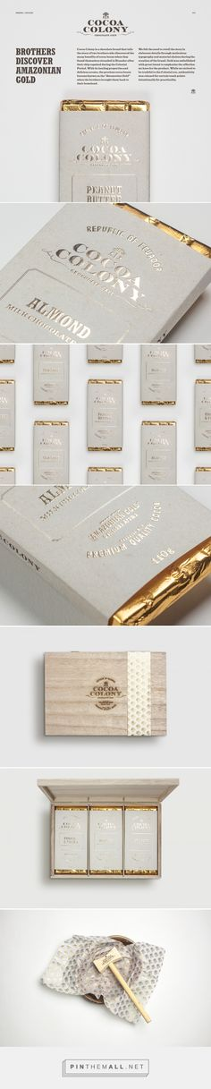 "Cocoa Colony on Behance by Bravo Singapore, Singapore curated by Packaging Diva PD. ""Amazonian Gold"" cocoa bean packaging tells the story of how this chocolate brand was created."