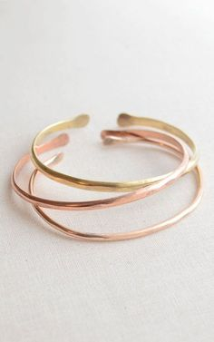 Hammered Bangle Bracelet Set of three