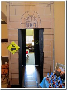 DIY Cardboard train station - check out this blog.  Fun stuff for the kids.  Boy & Girl themes.