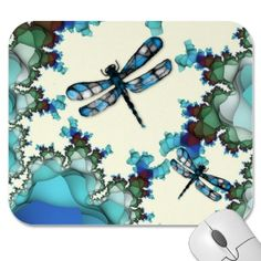 This Dragonfly Land Mousepad features mouse drawn dragonflies on a digital art fractal background. By MousefxArt.Com #dragonfly #fractals #mousepad #watercolor
