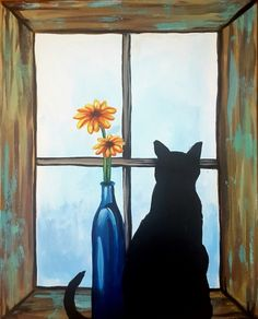 Cat and daisies in the window beginner painting idea. Barnyard Cat at Woody's Taphouse - Braeside, Southland Dr