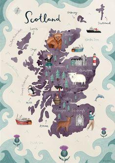 home illustration Scotland Illustrated Map Fine Art Giclee Print Scotland Map, Scotland Travel, Skye Scotland, Glasgow Scotland, Scotland Symbols, Scotland Funny, Travel Maps, Travel Posters, Travel Illustration