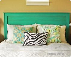 awesome DIY reclaimed wood headboard...i can see this in orange, yellow or red !!
