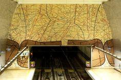 Alfornelos Metro Station in Lisbon Metro Station, Public Transport, Art World, Portuguese, Transportation, Architecture, Interior, Trains, Design