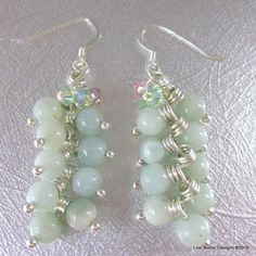 Silver Wire Wrapped Light Green Jade Dangle Earrings LBD1105