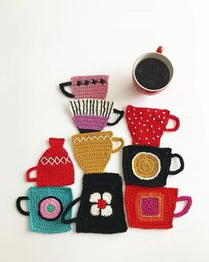 Mingky Tinky Tiger + the Biddle Diddle Dee — lustik: Tuija Heikkinen, Textile designer.Tuija Heikkinen creates charming crochet art that's done in pieces and then arranged into charming assemblages just like a collage.These crochet illustrations by Crochet Art, Crochet Home, Crochet Motif, Crochet Designs, Crochet Flowers, Crochet Stitches, Knitting Patterns, Crochet Patterns, Crochet Ideas