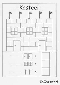 Ridders en kastelen Math Activities For Kids, Preschool Art, Château Fort, Drawing Sketches, Worksheets, Coloring Pages, Knight, Medieval, Kindergarten