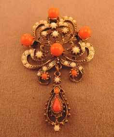 1950-60s Gold Tone Faux Coral and Pearl by thejeweledbear on Etsy