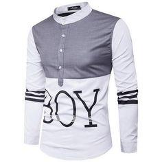 2017 New Fashion Casual Men Shirt Long Sleeve Patchwork Slim Fit Striped Shirt Men High Quality Cotton Men's Stand Collar Shirt