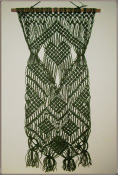 MACRAME Tapestry Hanging Linen Hippie Grey Green Rustic NEW Wall Decoration Wove