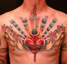 Male Chest Tattoos      Love the sentiment along side the Sacred Heart on this chest piece.