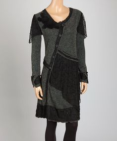 Black & Heather Gray Patchwork Linen-Blend Tunic