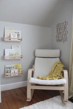 Storage & Organization: Cozy Reading Nook With Ikea Spice Bookshelves - 15 Awesome IKEA Spice Racks To Your Organizer Nursery Room, Girl Nursery, Nursery Decor, Nursery Chairs, Ikea Rocking Chair Nursery, Ikea Nursery, Nursery Artwork, Wall Decor, Project Nursery