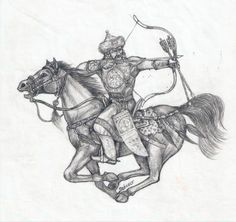 Hungarian Horseback Archer, Hungary has long tradition of nomad archery which is originated from the ancient nomad history of the Huns. Archery Tattoo, Medieval, Horseman, Ancient, Tatto, Art, Warrior, Horse Archer, Hungarian Tattoo