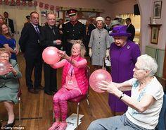 Tour: The Queen popped into a class where local elderly residents were exercising