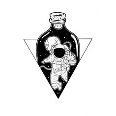 German-based Digital Artist / Web Developer Philipp Rietz aka Badbugs_Art works as Freelance creative and do magically illustration and Design experiments. Astronaut Drawing, Astronaut Tattoo, Astronaut Illustration, Space Drawings, Art Drawings, Drawing Art, Desenho Tattoo, Black And White Illustration, Doodle Art