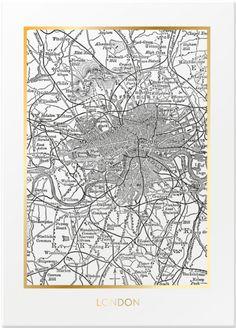 Poster med kart over London. Svart/hvit med gullfolie. 50 x 70 cm. Leveres uten ramme i rull.
