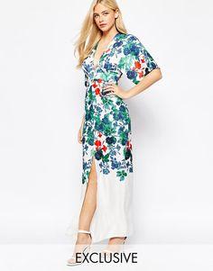 True Violet   True Violet Kimono Sleeve Maxi Dress In Statement Floral Print at ASOS