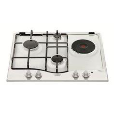 HOTPOINT - PC631WHHA _ Table de cuisson Mixte - 1 foyer rapide 3 kW - Allumage intégré aux manettes - Sécurité gaz par thermocouple - Grilles émaillées.