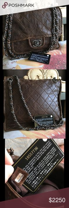 💋Chanel Messenger Bag💋 Authentic Chanel chocolate brown quilted aged calfskin leather bag. Preloved in Excellent condition! The leather is stunning! Soft aged calfskin with brushed silver hardware. Any marks you add to it will just blend in. Rare bag hard to find. Inside is clean, no odor no stains. If you want new never used then please buy directly from the store. Large zip pocket inside and two open pockets. Comes with the card and dust bag. No trades! CHANEL Bags Satchels