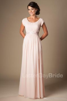 Blushing Pink Long Formal Full Length Modest Chiffon Beach Evening Bridesmaid Dresses With Cap Sleeves Beaded Ruched Temple Bridesmaids Dres Affordable Bridesmaid Dresses Blush Pink Bridesmaid Dresses From Helen_fontaine, $143.36| Dhgate.Com
