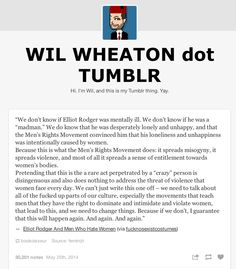 Wil Wheaton on Men's Rights