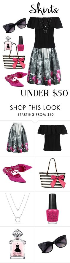 """Skirts under $50"" by holgal ❤ liked on Polyvore featuring Chicwish, French Connection, Prada, Gabriella Rocha, OPI and skirtunder50"