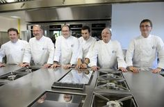 Eneko Atxa (fourth from left), posing with other Spanish chefs at the opening of the Basque Culinary Centre in 2011. – AFP pic, May 6, 2015.