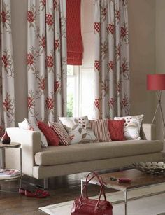 Ashley Wilde -  Bourey Fabric Collection - Modern patterned cream curtains, orange roman blind and striped, plain and floral cushions